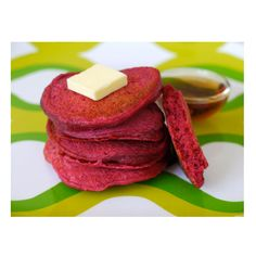 These pancakes might look like they're red velvet, but they are actually made with healthy red beets! Get the recipe at Weelicious.   - Delish.com