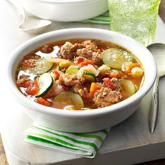 Tasty-Italian Vegetable Soup Recipe -Here's a dish that will warm you up fast. It takes just 25 minutes until you can sit down and start sipping on this soup. —Janet Frieman, Kenosha, Wisconsin