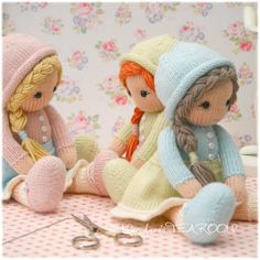 New Little Yarn Dolls / PDF Doll Knitting by maryjanestearoom                                                                                                                                                                                 More
