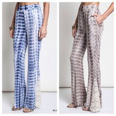 Tie dye bell bottoms with lace detail. ONLY BLUE❗️ Sizes Available: medium, large.  Colors : ONLY blue .AVAILABLE.  Please don't purchase this listing,  I will create a new listing for you.❗️ PRICE FIRM UNLESS BUNDLED Pants