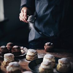 "Can't wait to make ""semlor"" - one of my favorite Swedish pastries. A soft bun, almond paste, whipped cream and some powdered sugar on top. So good! #notiphone"