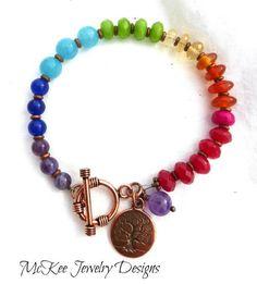 Rainbow gemstone and copper bracelet. Tree of life charm. Chakra