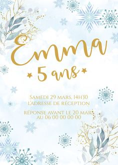 Invitation anniversaire neige personnalisable !  Contactez moi par email ou sur www.j-b-design.fr   #invitation #anniversaire #birthday #enfant #neige #marseille #france #paris #var #draguignan Marseille France, Paris France, Marie, Invitation, Etsy, Impression, Tableware, Design, Wedding Stationery
