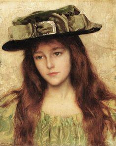 Young Beauty in a Green Hat, by Albert Lynch (Peruvian artist, 1851-1912)