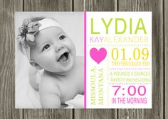 Birth announcement design...on pearlescent paper!