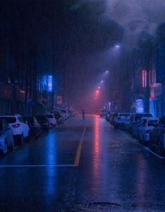 photography A rainy street in Cheongju, South Korea. Night Street, Rainy Street, Neon Aesthetic, Night Aesthetic, Aesthetic Backgrounds, Aesthetic Wallpapers, Rainy City, New Retro Wave, Rainy Night