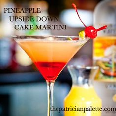 Pineapple Upside Down Cake Martini at thepatricianpalette.com; Mark Woolcott Photography; Inverness Hotel Denver