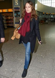 Transatlantic trip: Pregnant Keira Knightley was spotted arriving at London's Heathrow Airport to catch a flight to Los Angeles on Thursday morning
