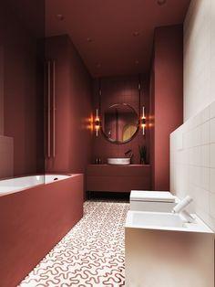 Magnifique salle de bain très chic avec sa couleur terre !