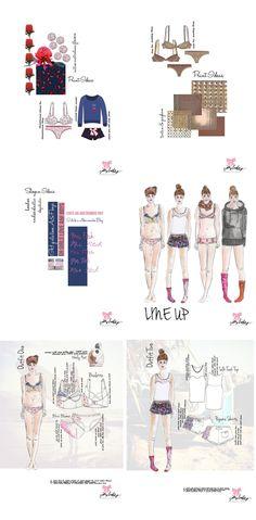 Fashion Portfolio - sleepwear & lingerie design board layout with final line up - fashion design; fashion sketchbook; fashion illustrations // Francesca Quinn