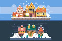 Christmas Time Winter Houses - Illustrations
