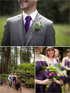 purple bridesmaid dress.  I also like having Joe in a gray suit with a purple tie so he stands apart from the groomsmen.