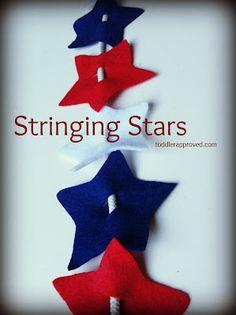 Toddler Approved: Stringing stars craft for of July decorations! Toddler Fun, Toddler Crafts, Toddler Activities, Craft Activities, Montessori Toddler, Kid Crafts, Patriotic Crafts, July Crafts, Holiday Crafts For Kids