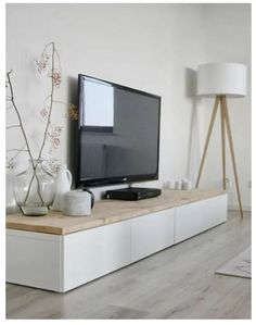 Creatively integrate Ikea Besta units into the interior - IKEA ♡ Wohnklamotte - ▷ Creatively integrate Ikea Besta units into the interior - Modern Minimalist Living Room, Minimalist Home Decor, Living Room Modern, Living Room Designs, Tv Stand Minimalist, Living Room Ideas Tv Stand, Ikea Living Room, Small Living Rooms, Living Room Interior
