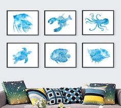Nautical Print Blue Watercolor Painting Fish Shell by Thenobleowl