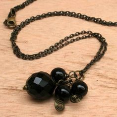 Beaded Necklace with Black Agate Onyx and Brass Chain. Buy now for a look of mysterious dark elegance. $75.00 http://www.artisansintheandes.com/beaded-necklaces-bib-necklace-chunky/beaded-necklaces-blue-lapis-lazuli-chunky-semi-precious