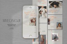 Myeongji Instagram Templates by Azruca on @creativemarket #socialmedia #template #handpicked Instagram Design, Instagram Feed, Instagram Posts, Instagram Story Template, Instagram Templates, Image Model, Social Media Template, Journal Cards