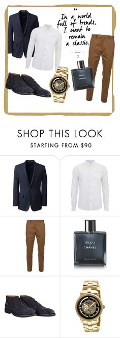 """Gentleman in blue"" by dominikaplav ❤ liked on Polyvore featuring Lands' End, Scotch & Soda, Valentino, Chanel, Doucal's, Kenneth Cole, men's fashion and menswear"
