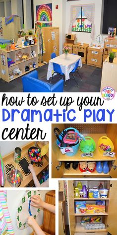 to Set up the Dramatic Play Center in an Early Childhood Classroom How to set up your dramatic play center in your preschool, pre-k, and kindergarten classroom.How to set up your dramatic play center in your preschool, pre-k, and kindergarten classroom. Preschool Rooms, Preschool Centers, Preschool Set Up, Preschool Kitchen Center, Preschool Dramatic Play, Block Center Preschool, Creative Curriculum Preschool, Kindergarten Classroom Setup, Center Ideas For Kindergarten
