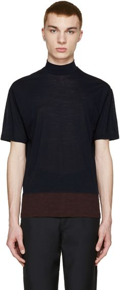 Kolor - Navy Wool Jersey Contrast T-Shirt