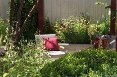 seating area, squires 80 anniversary garden, show garden, RHS Hampton Court Flower Show 2016