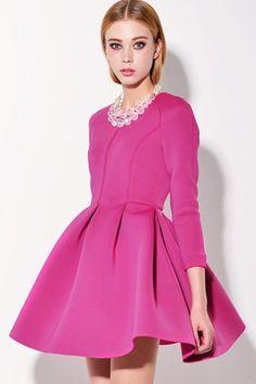 3/4 Sleeve Pleated A-line Dress - OASAP.com