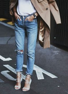 high rise ripped boyfriend denim, white tee, camel trench, lace up heels
