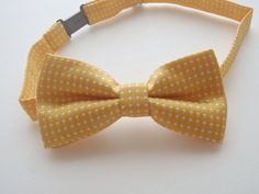 Toddler Boys Fashion Formal Bow Tie Yellow And White Polka Dot Bowtie For Kids Wedding Bowties Accessories by ChicEventsDecor on Etsy