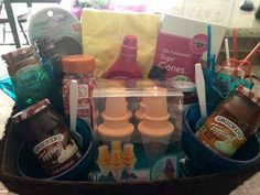 Ice cream party in a box (gift basket idea)
