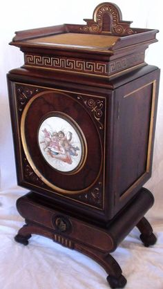 VERY RARE 1870's Rosewood Renaissance Revival Parlor Cabinet w/ Handpainted Porcelain Plaque Found on Ruby Lane Victorian Home Decor, Victorian Furniture, Victorian Homes, Victorian Era, Antique Furniture, Antique Beds, Grandfather Clock, Furniture Styles, Renaissance