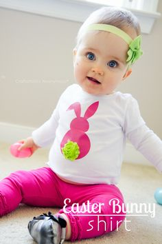 Adorable Easter Shirt made using your Silhouette Portrait! Love the colors and the rosette for a bunny tail.