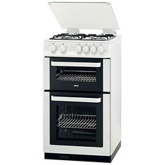 Zanussi ZCG563FW Double Oven Gas cooker.  36 in tall, 19.5 in wide and, 23.5 in deep.  Might work for tiny house - especially if you like to cook.