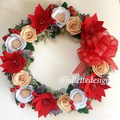 Christmas Wreath, Holiday Wreath, Felt Christmas Wreath, Flowers Wreath, Christmas Gift by juliettesdesigntr on Etsy https://www.etsy.com/listing/558902580/christmas-wreath-holiday-wreath-felt