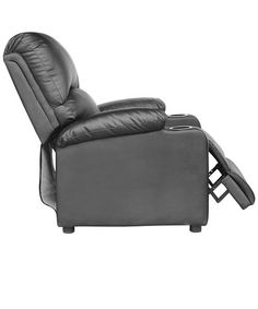 black leather recliners with cup holders - Black Leather Recliner