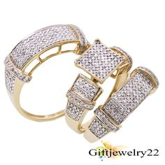 14K Yellow Gold Over Diamond Trio Wedding Ring Band Set His Hers Men's Women's #giftjewelry22