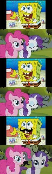 My Little Pony: Friendship is Magic and Spongebob together. Spongebob and Pinkie Pie is perfect