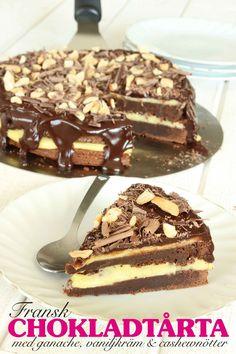 Fransk chokladtårta med chokladganache, vaniljkräm & cashewnötter | Tidningen Hembakat