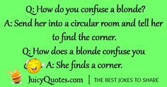 Best collection of blonde jokes and puns. Enjoy and laugh with your friends. We also have thousands of other joke and categories. Blonde Memes, Blonde Humor, Funny Blonde Jokes, Funny Texts, Funny Jokes, Hilarious, Funny Images, Funny Photos, I Am The Messenger