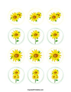 Sunflower cupcake toppers. Use the circles for cupcakes, party favor tags, and more. Free printable PDF download at http://cupcakeprintables.com/toppers/sunflower-cupcake-toppers/