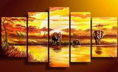 100% Hand Painted Artwork African Painting Sunset Painting Elephant 5 Piece Wall Art Large Oil Painting Modern Art Canvas Art Gallery Wrapped Stretched and Ready to Hang by Paintingworld, http://www.amazon.com/dp/B00B9RH35S/ref=cm_sw_r_pi_dp_ThcYrb1S5KZZD