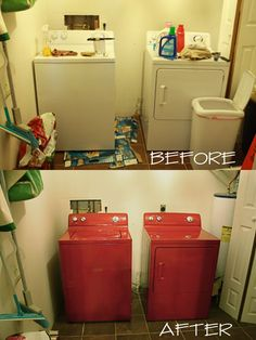 $10 Washer & Dryer Makeover - I need to find a tanish color paint to redo mine!  Or maybe a teal to go with the color of my shower curtain!
