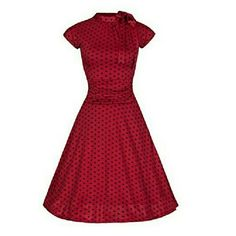 UK22/US18 Lindy Bop 'Dottie' Dress in Red Black The Dottie dress from Lindy Bop in Red w/Black Polka Dots. Size UK22 or US18, tag says US 4XL but if you are familiar with the brand you know that the American side of their sizing is odd. Vintage style tea dress. Stretch material that is fully lined. Tie at the neck. Hidden side zipper. Ruched section at the waist. New with tags. Lindy Bop Dresses