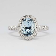 Perfect 2.25ct t.w. Estate Bailey Banks & Biddle Aquamarine Diamond Ring 18k | Antique & Estate Jewelry | Jewelry Finds