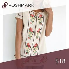 Embroidered Blouse New with tags! Cream with beautiful embroidered detailing. Purchased from Roolee Boutique. Anthropologie Tops Blouses
