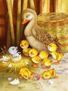 Beautiful fairy tale illustrations by Elena and Vitaly Shvarov.the ugly duckling Gif Mignon, Family Painting, Painting Art, Ugly Duckling, Beautiful Fairies, Animation, Vintage Easter, Children's Book Illustration, Book Illustrations