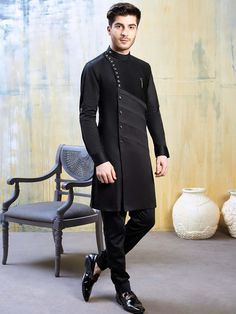 Shop Silk black color party occasion kurta suit online from India. Gents Kurta Design, Boys Kurta Design, Wedding Kurta For Men, Wedding Dress Men, Kurta Pajama Men, Kurta Men, Indian Men Fashion, Mens Fashion Suits, Outfits Casual