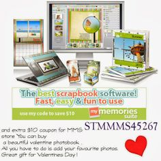 Get $10 OFF on purchase MyMemoriesSuite5 with this coupon, and Inside software you will get extra $10 coupon for MMS store you can buy a beautiful valentine photobook .All you have to do is add your favourite photos.Great gift for Valentines Day !