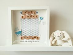 """Baby boy scrabble frame personalised with your little bundle of joys name date and time of birth   Also comes in pink  10""""x10"""" frame"""