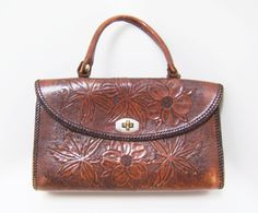 Vintage Leather Purse  Brown Flower Tooled Boho by mimileather, $40.00