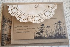 Rustic Shabby Vintage Wedding Invitations Lace by alittlemorerosie